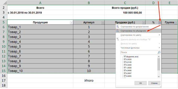 abc анализ пример в excel-5